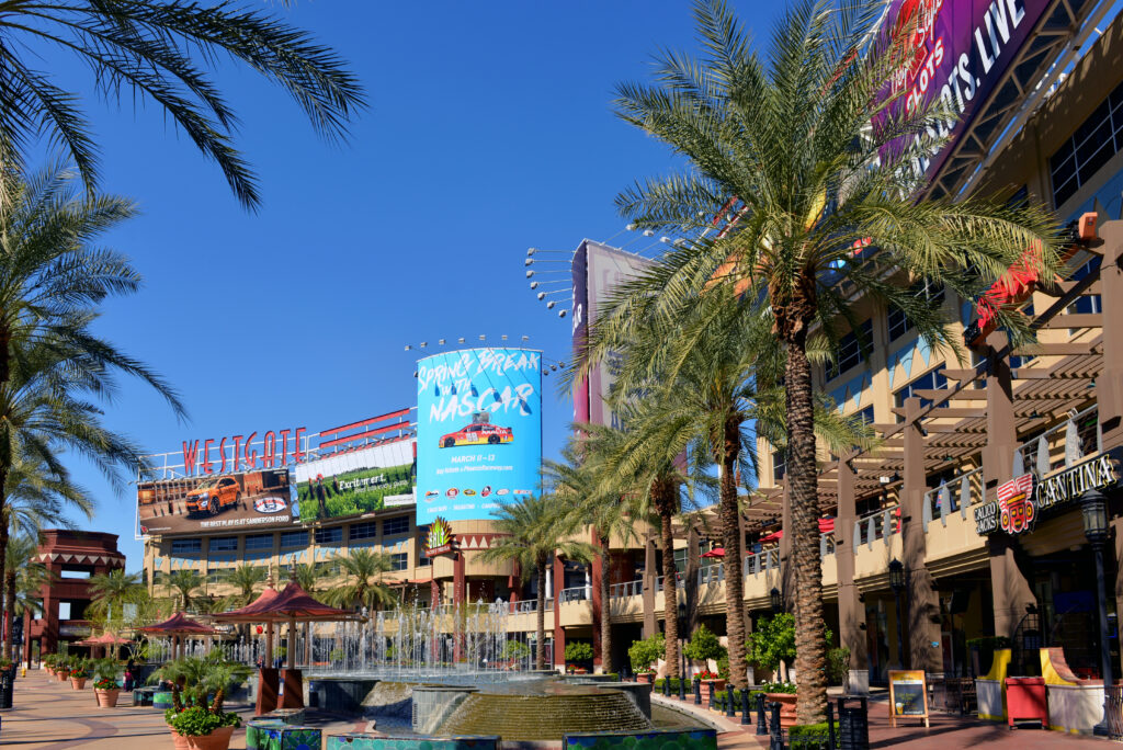 Glendale, AZ, on February 25, 2016. A portion of the central court of the Westgate Entertainment District which houses the Gila River Arena, home of the NHL team Arizona Coyotes